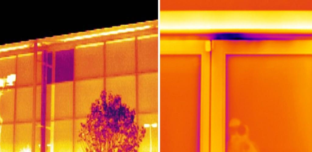 Nella prima si nota la vetrata con doppio vetro danneggiato e nella seconda è evidenziato il difetto di montaggio del serramento